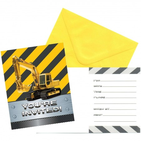 Construction Zone Party Invitations (Pack of 8)