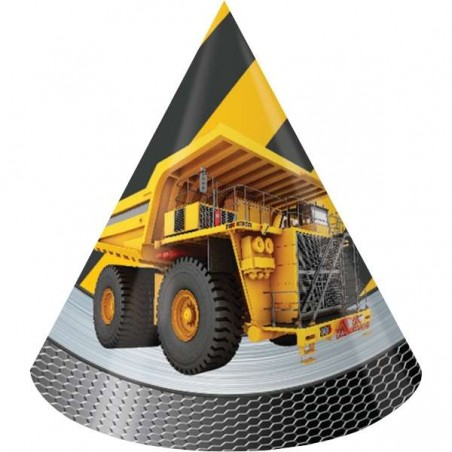 Construction Zone Party Hats (Pack of 8)