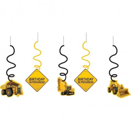 Construction Zone Swirl Decorations (Set of 5)