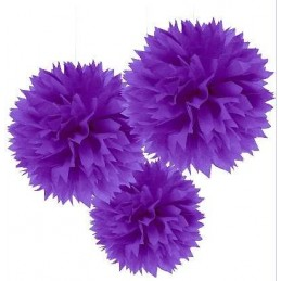 Purple Fluffy Decorations (Pack of 3)