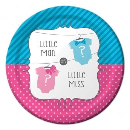 Little Man Or Little Miss Gender Reveal Small Plates (Pack of 8)