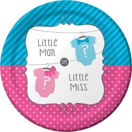 Little Man Or Little Miss Gender Reveal Large Plates (Pack of 8)