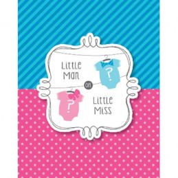 Little Man or Little Miss Gender Reveal Party Invitations (Pack of 8)