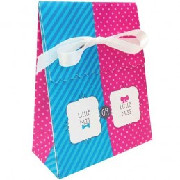 Little Man or Little Miss Gender Reveal Lolly/Treat Boxes (Pack of 12)