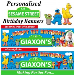 Sesame Street 1st Birthday Customized Banner
