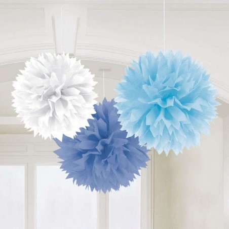 Fluffy Decorations Blue & White (Pack of 3)