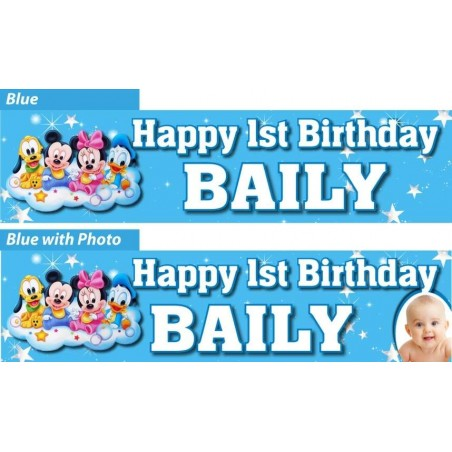 Personalised Mickey Mouse 1st Birthday Party Banner