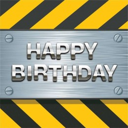 Construction Zone Birthday Large Napkins (Pack of 16)