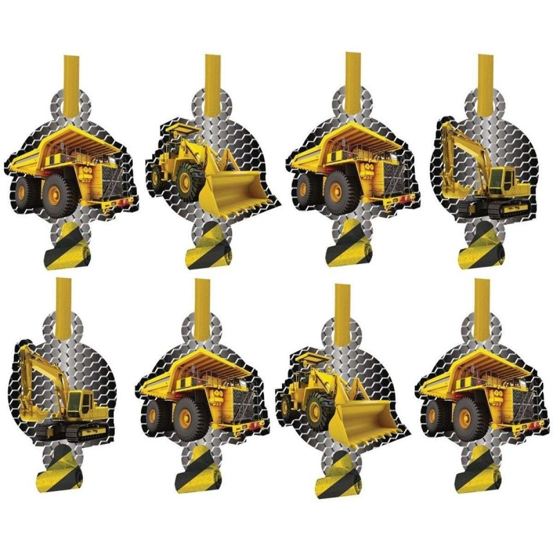 Construction Zone Party Blowers (Pack of 8)