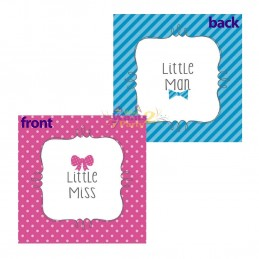 Little Man or Little Miss Gender Reveal Small Napkins (Pack of 16)