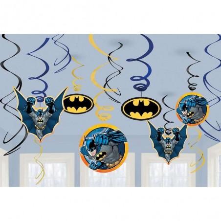 Batman Swirl Decorations (Set of 12)