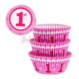 1st Birthday Pink Baking Cups (Pack of 75)