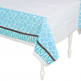 Wild Safari Blue Plastic Tablecloth