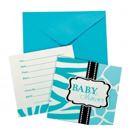 Wild Safari Blue Baby Shower Party Invitations (Pack of 8)