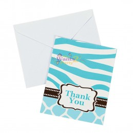 Wild Safari Blue Baby Shower Party Thank You Cards (8)