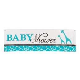 Wild Safari Blue Baby Shower Giant Banner