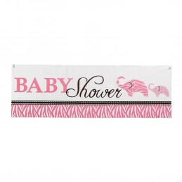 Wild Safari Pink Baby Shower Giant Banner