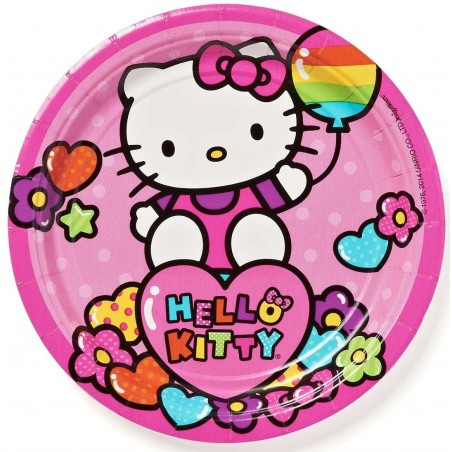 Hello Kitty Rainbow Small Paper Plates (Pack of 8)