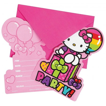 Hello Kitty Rainbow Party Invitation Set (Pack of 8)