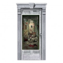 Halloween Asylum Corridor Door Cover
