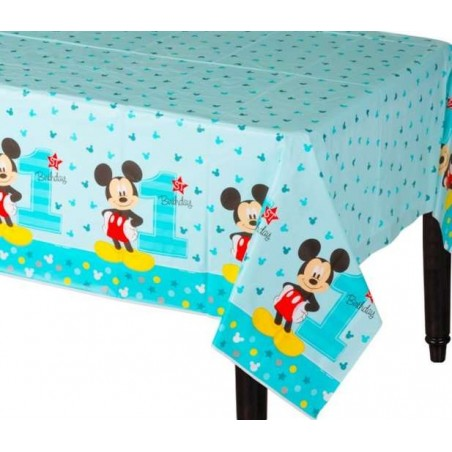 Mickey Mouse 1st Birthday Plastic Tablecloth