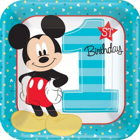 Mickey Mouse 1st Birthday Large Plates (Pack of 8)