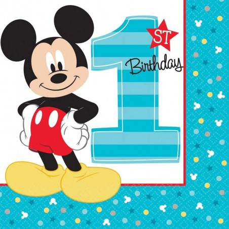 Mickey Mouse 1st Birthday Large Napkins (Pack of 16)