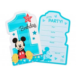 Mickey Mouse 1st Birthday Party Invitations (8)