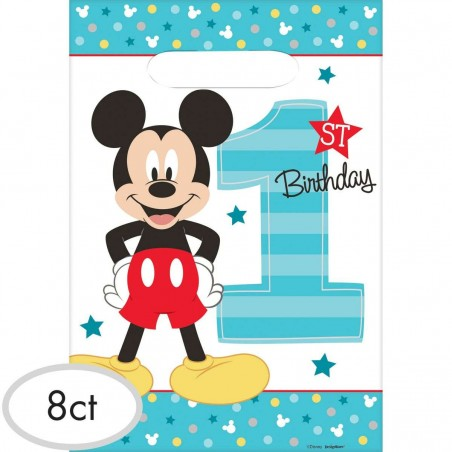 Mickey Mouse 1st Birthday Loot Bags (Pack of 8)