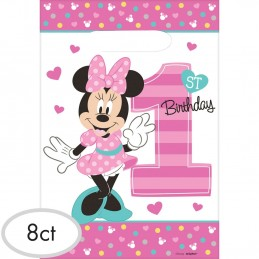 Minnie Mouse 1st Birthday Loot Bags (Pack of 8)