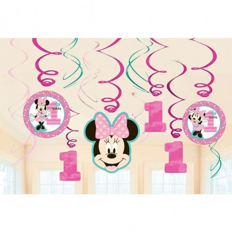 Minnie Mouse 1st Birthday Swirl Decorations (Pack of 12)