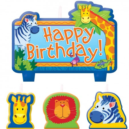 Jungle Animals Party Candles (Set of 4)