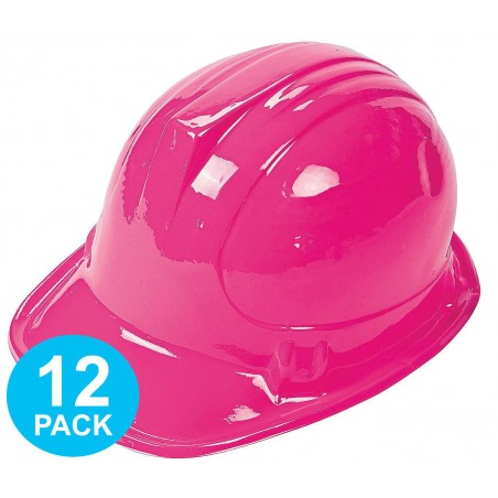 Construction Pink Plastic Hats (Pack of 12)