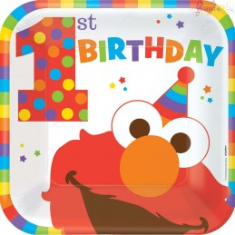 Elmo 1st Birthday Large Plates (Pack of 8)