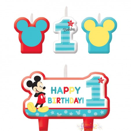 Mickey Mouse 1st Birthday Candles (Set of 4)