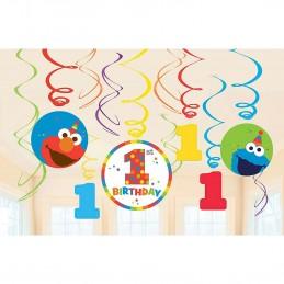 Elmo 1st Birthday Swirl Decorations (Set of 12)