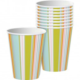 Happy Jungle Pastel Stripes Cups (Pack of 8)