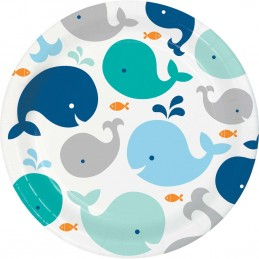Blue Baby Whale Large Plates (Pack of 8)