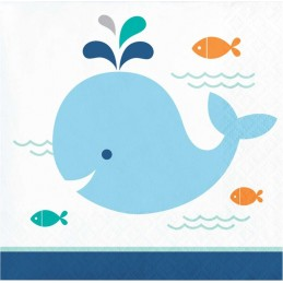 Blue Baby Whale Small Napkins (Pack of 16)