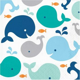 Blue Baby Whale Large Napkins (Pack of 16)