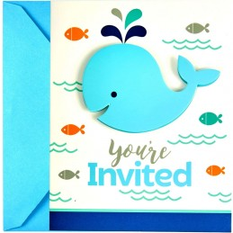 Blue Baby Whale Party Invitations (Pack of 8)
