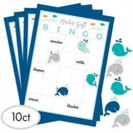 Blue Baby Whale Baby Shower Bingo Game