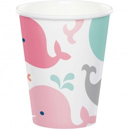 Pink Baby Whale Paper Cups (Pack of 8)