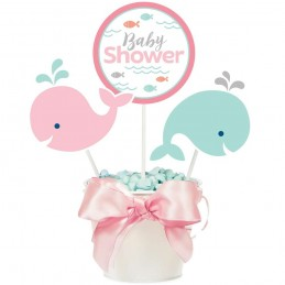 Pink Baby Whale Baby Shower Centrepiece Sticks (Set of 3)