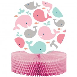 Pink Baby Whale Honeycomb Centrepiece