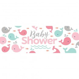 Pink Baby Whale Baby Shower Giant Banner