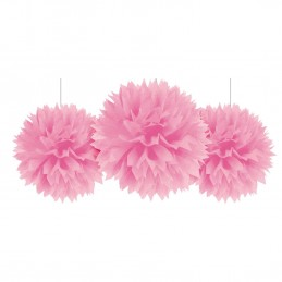 Fluffy Decorations Pink (Pack of 3)