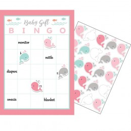 Pink Baby Whale Baby Shower Bingo Game