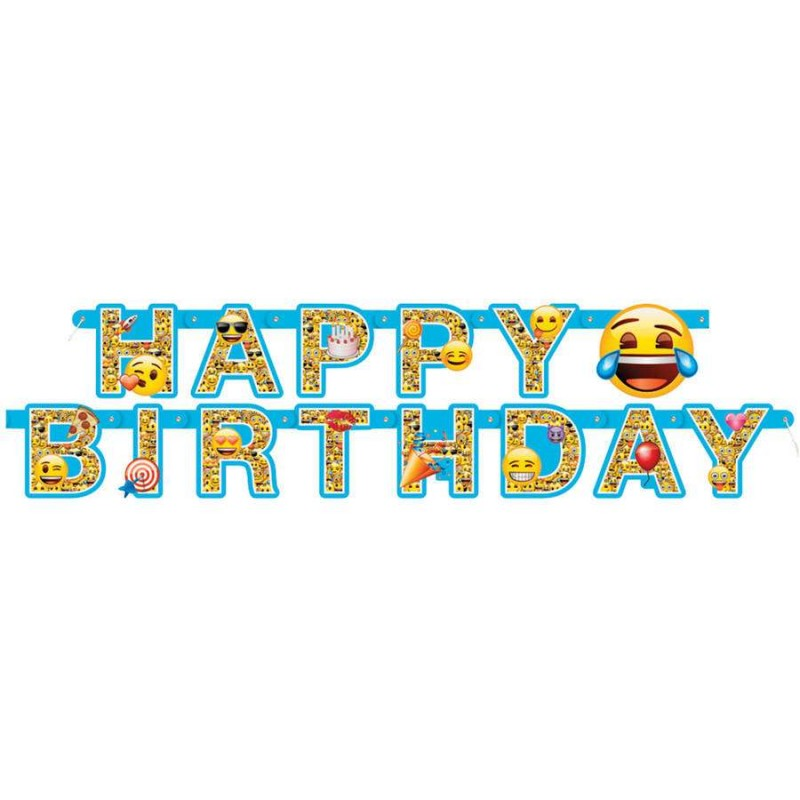Emoji Happy Birthday Banner Emoji Party Supplies Who
