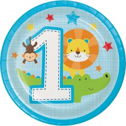 Boys Jungle 1st Birthday Small Plates (Pack of 8)